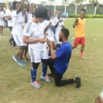 OMG!!! Pretty Lady Dazed By Her Nigerian Boyfriend Who Proposed To Her During Football Match (See Photos)