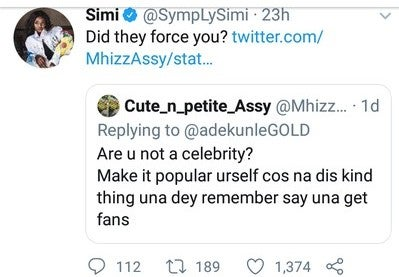 Simi, Twitter User Banter Words Over Adekunle Gold